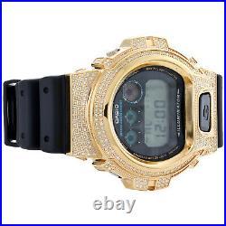 Casio G-Shock DW6900 Watch White Round Real Diamond Stainless Steel Case 2.50 CT