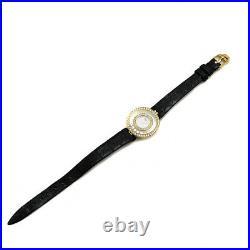 Chopard YG Happy Diamonds Double Bezel Genuine Belt SS Ladies Watch b0720