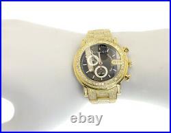 Custom Mens Gold PVD 101 G Real 44 MM Full Diamond Gucci YA101334 Watch 10.0 Ct