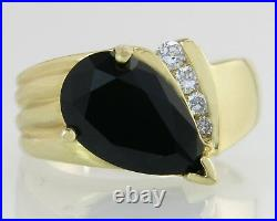 Estate 14K Yellow Gold 2.00ct Teardrop Black Onyx & Genuine Diamond Ring Size 6