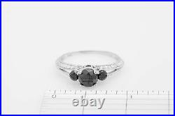 Estate $5000 2ct Genuine BLACK & VS G Diamond 14k White Gold Wedding Ring