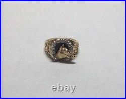 Estate Sale 14 Karat Yellow Gold Genuine Diamond & Black Onyx Horse Unisex Ring