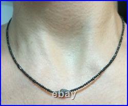GENUINE 15ct BLACK DIAMOND Necklace with. 5ct pave Diamond bead 925 silver