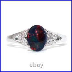 GENUINE BLACK OPAL TRIPLETS 6x8mm DIAMOND SOLID REAL 9K WHITE GOLD RING Red