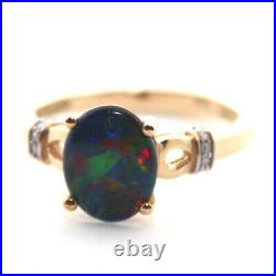 GENUINE BLACK OPAL TRIPLETS LARGE 8x10mm DIAMOND SOLID REAL 9K YELLOW GOLD RING