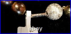 GIA Lab Certified Genuine Tahitian 11 -14mm pearl Necklace 14k Diamond Clasp