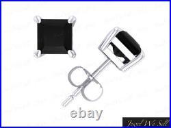 Genuine 1.00Ct Princess Cut Black Diamond Stud Earrings 18k White Gold Prong AA