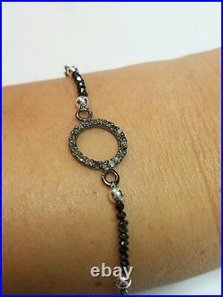 Genuine 1.2ct black Diamond pave Diamond circle 925 silver bracelet