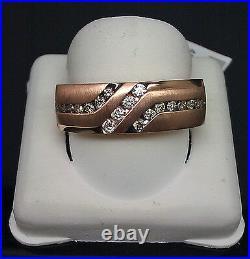Genuine 14K Men's Rose Gold With Black & White Round Diamond 0.40CT Ring, Band