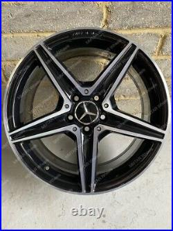 Genuine 18 Mercedes C Class E Class AMG 5 Spoke Black Diamond Cut Alloy Wheels
