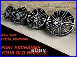 Genuine 19 BMW 5 Series G30 G31 3 4 Series 664M Black Diamond Cut Alloy Wheels