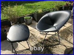 Genuine 1952 Harry Bertoia Diamond 421 Chair and Ottoman Black Naugahyde leather