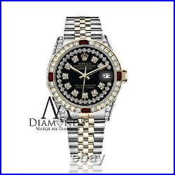 Genuine 26mm Rolex Datejust 18K & SS 2 Tone Black String Dial Ruby & Diamond