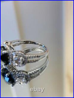 Genuine 3.05cttw Black & White Diamonds Solid 14k White Gold Halo Ring