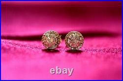 Genuine 9K Gold Halo stud earrings 9mm Halo Stud Simulated Diamond gift for her