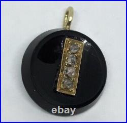 Genuine Antique Victorian 9ct Gold Jet & 4 Diamond Pendant