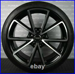 Genuine Audi A4 S4 19 Alloy Wheels Black Diamond Turned With Continental Tyres