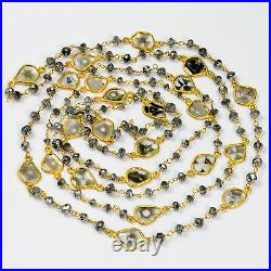 Genuine Black Grey Diamond Rondelle Slices 18k Solid Gold 35 Necklace