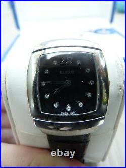 Genuine Damiani Ego Watch Diamonds Silver Black Leather Box + Authent. Card