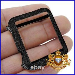 Genuine Diamond 1.50 Ctw Black Gold Apple Watch Bezel Series # 3 Cover Case 42mm