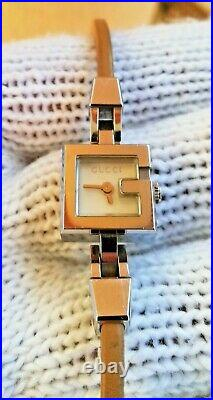 Genuine Gucci 102 G Series Stainless Steel Square Watch Leather Ladies Swiss