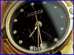 Genuine, Gucci 9200L Ladies Gold Tone and Stainless Steel Watch with Diamonds