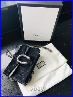 Genuine Gucci Dionysus Super Mini Bag Black Velvet Diamond GG Monogram Designer
