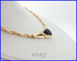 Genuine Heart Black Onyx Diamonds Solid 14k Yellow Gold 17 Necklace