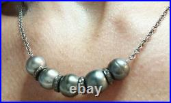 Genuine High Luster Tahitian Pearl Pave Diamond Silver Pendant Necklace