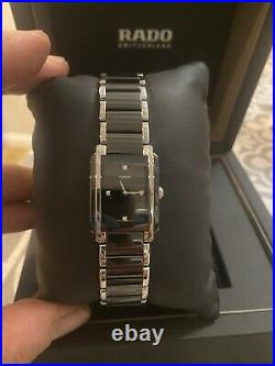 Genuine Ladies Rado Integral Ceramic Watch Diamond Rectanglar Black R20613712