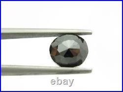 Genuine Natural Black Diamond Rose Cut 1.41 tcw Loose Stone 7mm Diameter