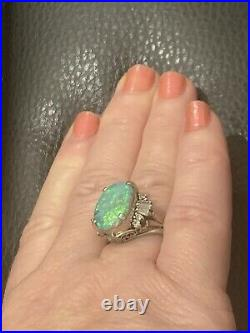 Genuine Natural Black Opal and Diamonds Ring Platinum Not 18 Carat Gold