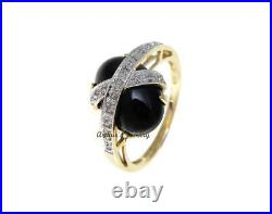 Genuine Natural Cabochon Black Coral Diamond Ring Set In Solid 14k Yellow Gold