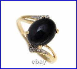 Genuine Natural Oval Cabochon Black Coral Diamond Ring Solid 14k Yellow Gold