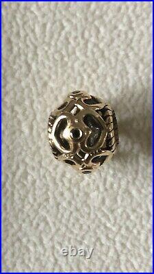 Genuine Pandora 14ct 14k Gold Open Heart Charm Retired Black Diamonds 750466DB