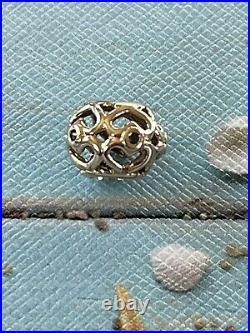 Genuine Pandora Solid 14k Gold & Black Diamond Openworks Heart Charm