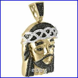 Genuine Pave Black Diamond Jesus Piece Charm 10K Yellow Gold 1.56 Pendant 1 Ct