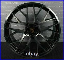 Genuine Porsche Macan 20 Inch RS Spyder Alloy Wheels Black / Diamond Turned x 4