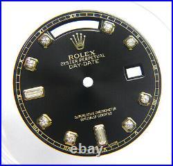 Genuine Rolex Day Date President 18038 18238 Black Gold Diamond Watch Dial