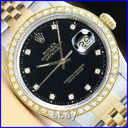Genuine Rolex Mens Datejust Factory Diamond Dial Two-tone Quickset Watch
