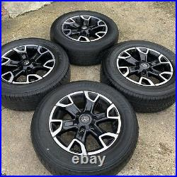 Genuine Toyota Hilux 18 Inch Alloy Wheels & Tyres 265 60 18 Diamond Cut Black