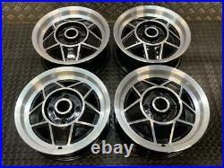 Genuine Triumph Stag 14 Alloy Wheels X 4 Black Inlays And Diamond Cut Faces