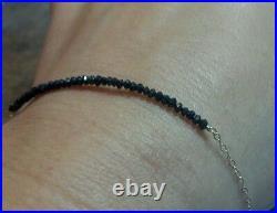 Genuine faceted 2ctw Black Diamond bracelet stamped solid 14k gold