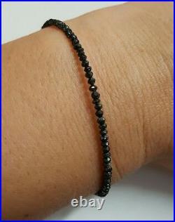 Genuine faceted 7ctw Black Diamond bracelet stamped solid 14k gold