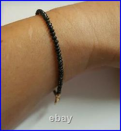 Genuine faceted 7ctw Black Diamond bracelet stamped solid 14k gold 6.5 inch
