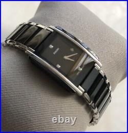Genuine ladies Rado Integral Ceramic watch Diamond Rectangular Black R20613712
