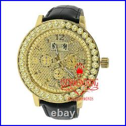 Gold Canary Real Diamond Dial Khronos Mens Watch 1 Row Prong Bezel Leather Band