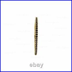 Gold Genuine Black Diamond Eternity Band Ring Fine Jewelry Size -3 to 8 US