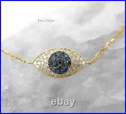 Gold Genuine White Black Diamond And Blue Sapphire Evil Eye Bracelet