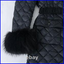 Iconic Womens MONCLER'Diamond Quilt' Real Fur Down Jacket Puffer Coat Parka 1/S